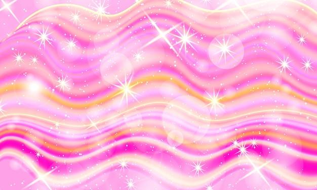 Roze vloeibare achtergrond. holografische sterren.