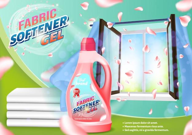 Roze vloeibare fles op open venster.