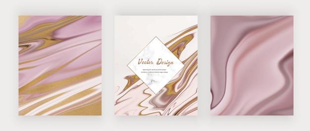 Roze vloeibare inkt met gouden glitterachtergronden en marmereffect