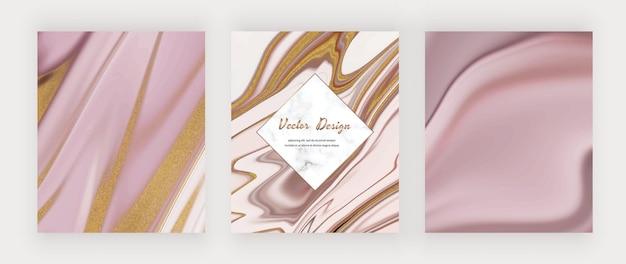 Roze vloeibare inkt met gouden glitterachtergronden en marmeren frame.