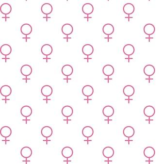 Roze vrouwelijk teken. cirkel met een kruis naar beneden. behorend tot het vrouwelijk geslacht. naadloze patroon. vectorillustratie. eps10