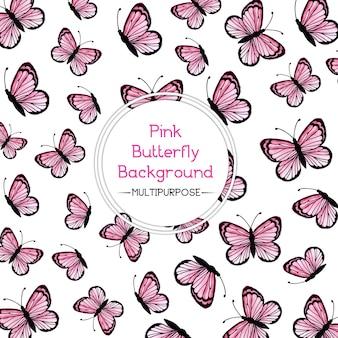 Roze waterverf vlinder achtergrond