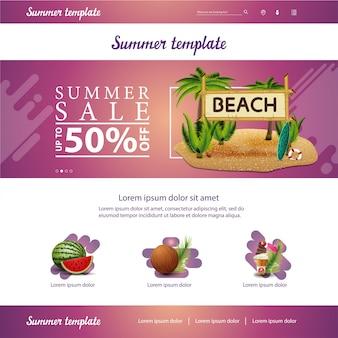 Roze website-interface sjabloon voor zomer kortingen en verkoop