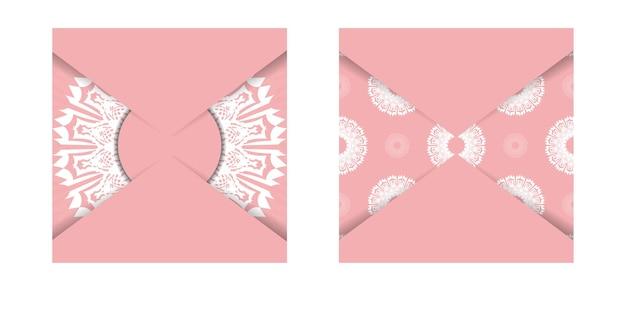 Roze wenskaart met mandala wit patroon voor uw merk.