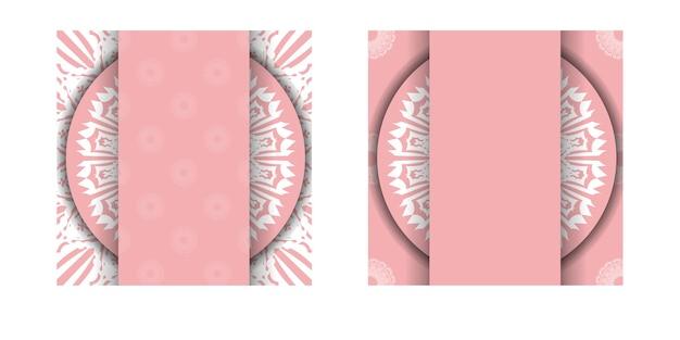 Roze wenskaart met mandala wit patroon voorbereid voor typografie.