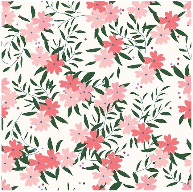 Roze wilde bloemenbloem en blad naadloos patroon