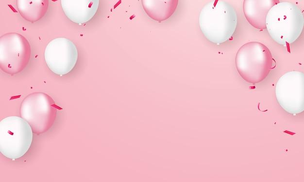 Roze witte ballonnen, confetti conceptontwerp, happy valentijnsdag achtergrond