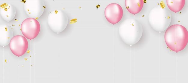 Roze witte ballonnen, gouden confetti conceptontwerp, happy valentijnsdag achtergrond