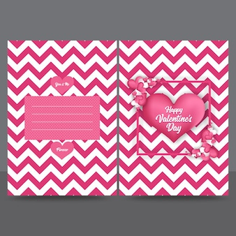 Roze zigzag valentine greeting card design template