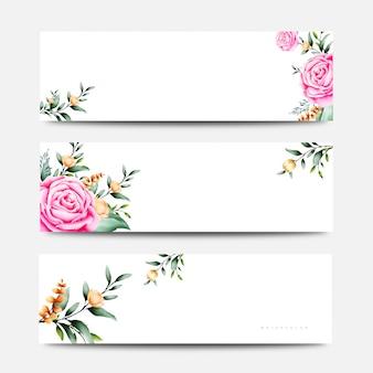 Rozen bloemen banner set