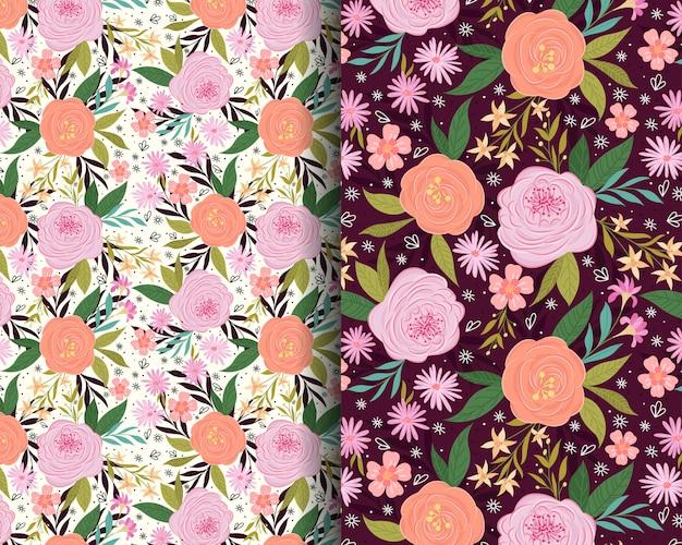 Rozen en lelies tuin naadloze patroon