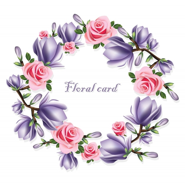Rozen en violette bloemen krans kaart