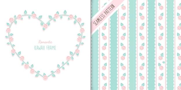 Rozen frame en naadloze bloemmotief