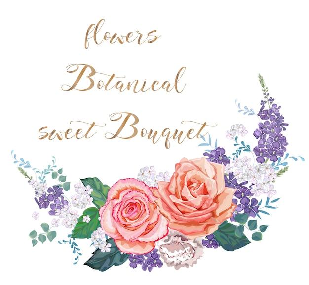Rozen met witte en paarse bloemen