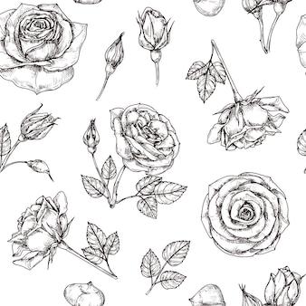 Rozen naadloos patroon. hand getekend roos bloemmotief. bloemstof herhaal vector vintage