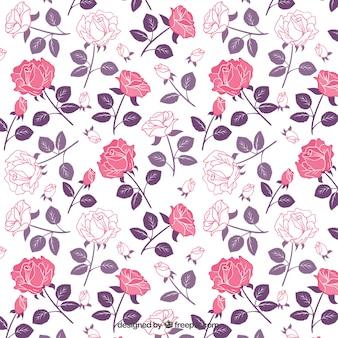 Rozen patroon in roze en paarse tinten