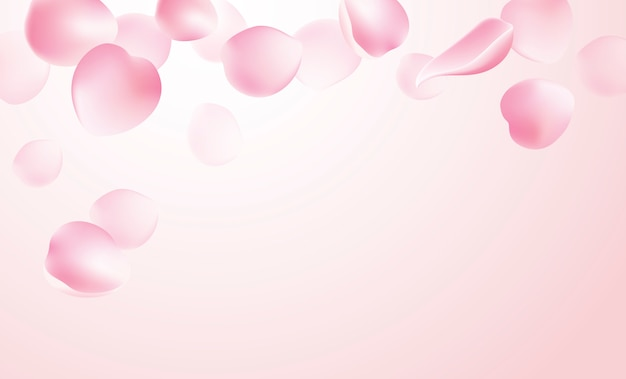 Rozenblaadjes vallen op roze achtergrond