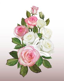 Rozenboeket witte en roze kleur