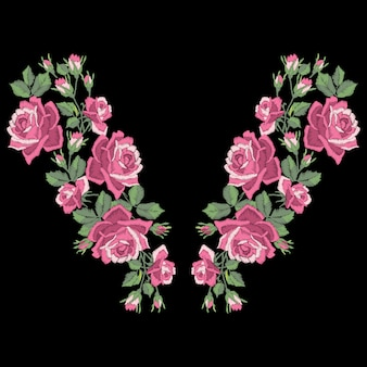 Rozenborduurwerk met bladeren en knoppen. etnische bloemen halslijn, bloemenontwerp, grafische mode dragen. borduurwerk voor t-shirt.