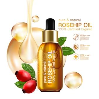 Rozenbottel olie organische natuurlijke huidverzorging cosmetica