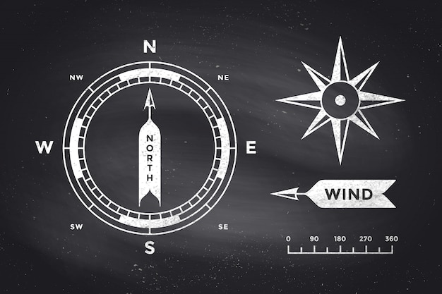 Rozenwind en kompas. set van vintage pijlen voor navigatie