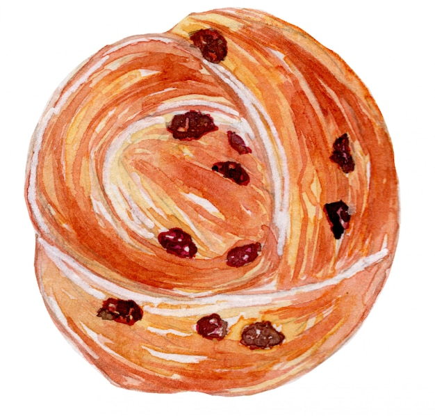 Rozijn roll brood aquarel illustratie