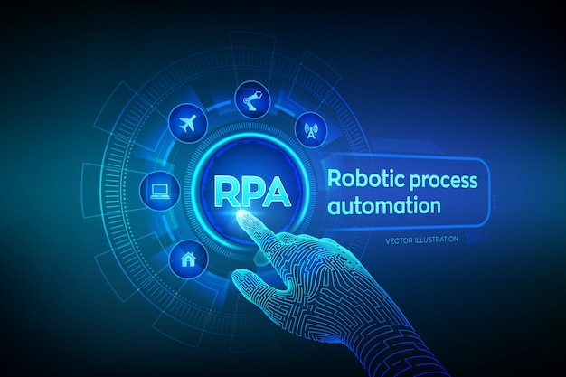 Rpa robotic procesautomatisering. wireframed robotachtige hand wat betreft digitale grafiekinterface.