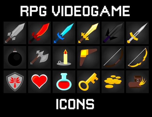 Rpg videogame-pictogrammen