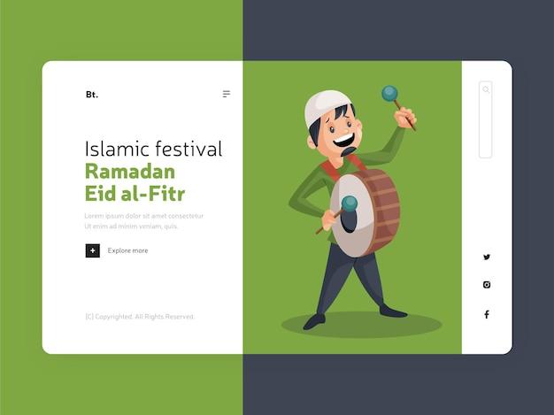 Rramadan islamitisch festival eid al fitr bestemmingspagina-ontwerp