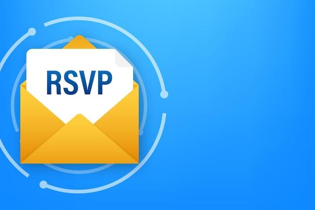 Rsvp-e-mailpictogram. gelieve te reageren op mail lineair teken. vector voorraad illustratie.