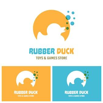 Rubber eend speelgoed silhouet met blauwe bubbels vector logo sjabloon