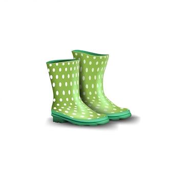 Rubberen groene laarzen geïsoleerd