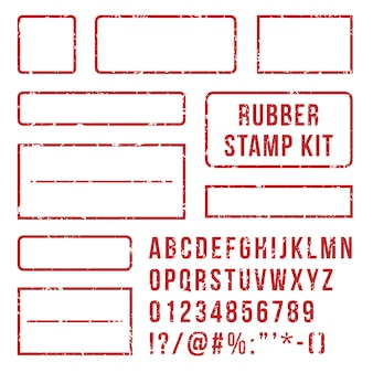Rubberen stempel letters set