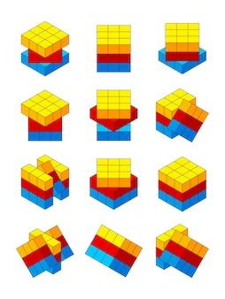 Rubiks kubus. verschillende posities van isometrische rubiks kubus
