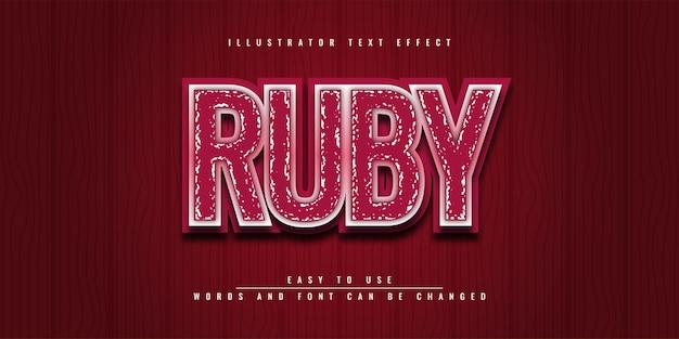 Ruby illustrator bewerkbaar 3d-teksteffect sjabloonontwerp