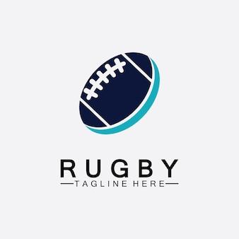 Rugby bal amerikaans voetbal pictogram vector logo sjabloon