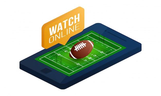 Rugby field sport isometrische weergave voor web, app. illustratie op witte achtergrond. bovenaanzicht van een veld voor speelveld