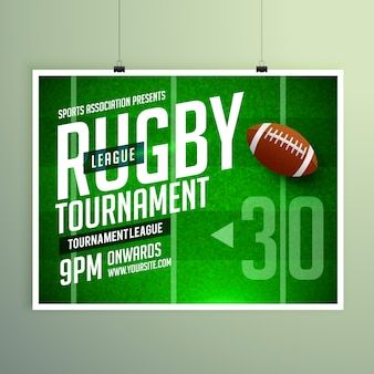 Rugby game event flyer poster ontwerp vector template