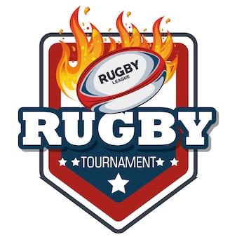 Rugby label bal met vlammen