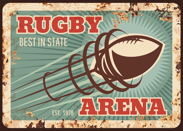 Rugby sport metalen plaat roestig, voetbal amerikaanse bal op arena, retro poster.