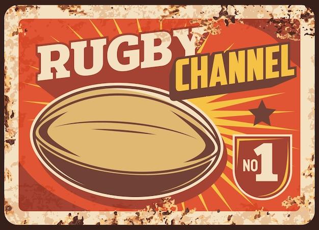 Rugby sportkanaal roestige metalen plaat