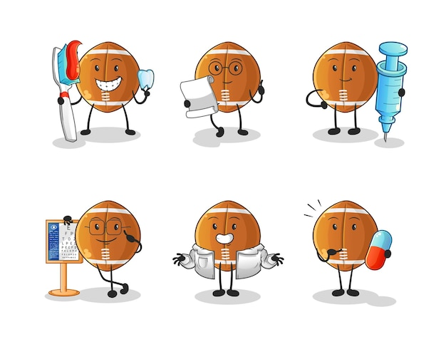 Rugbybal arts groep karakter. cartoon mascotte