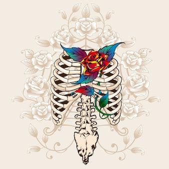 Ruggengraatbeenderen en rozen worden afgedrukt