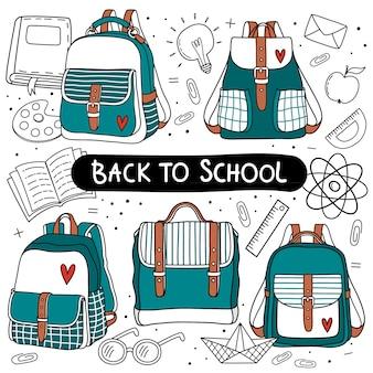 Rugzak die voor terug naar school wordt geplaatst