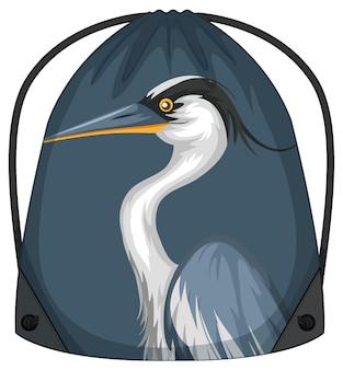 Rugzak met trekkoord en blauw pelikaanpatroon