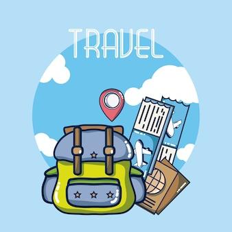 Rugzak met vliegtickets en paspoorten