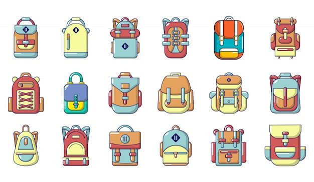 Rugzak pictogramserie. beeldverhaalreeks rugzak vectorpictogrammen geplaatst geïsoleerd