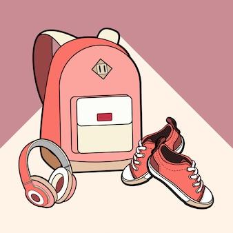 Rugzak, sneakers en hoofdtelefoons vector geïsoleerde set.