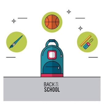 Rugzakborstel basketbal en regel met paperclip en gum