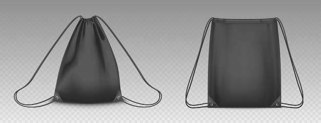 Rugzakzak met geïsoleerde trekkoorden. vector realistische mockup van schooltas voor kleding en schoenen, zwarte lege en volledige sport knapzakken met snaren
